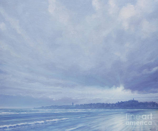 Wave Breaking Painting - View To St Andrews  by Derek Hare