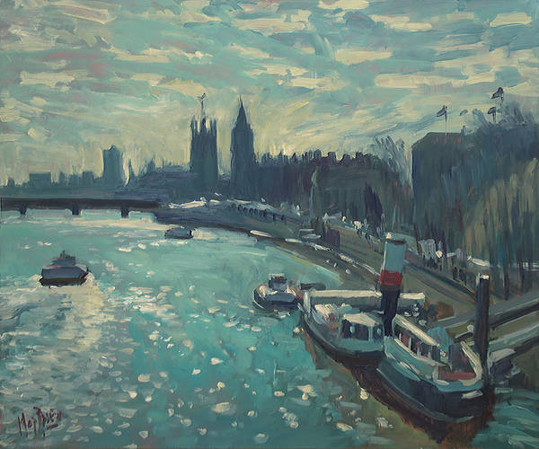 Painting - View To Westminster London by Nop Briex