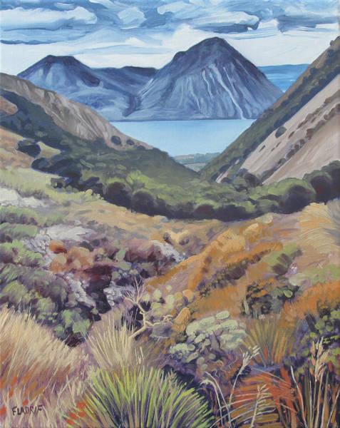 Ohau Wall Art - Painting - View Towards The Lake Ohau And The Ben Ohau Range From Te Araroa Trail by Wojciech Pater