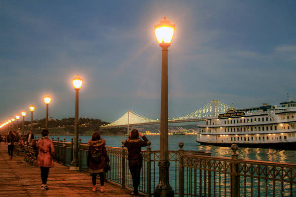 Photograph - Viewing The Bay Bridge Lights by Bonnie Follett