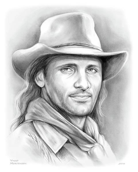 Cowboy Drawing - Viggo Mortensen  by Greg Joens