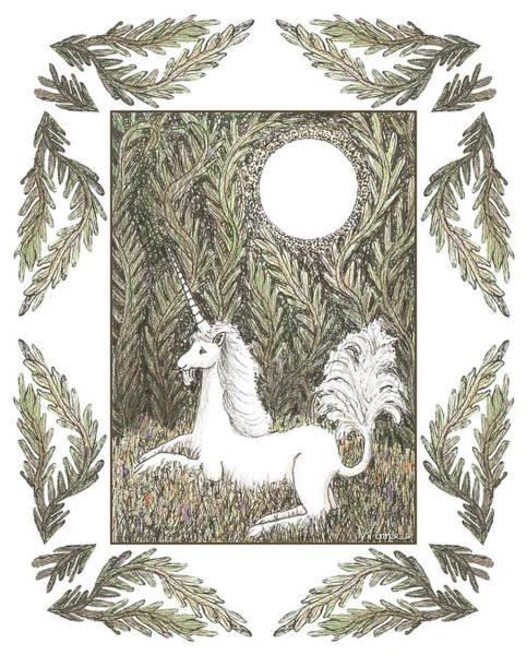 Drawing - Vigilant Unicorn by Lise Winne