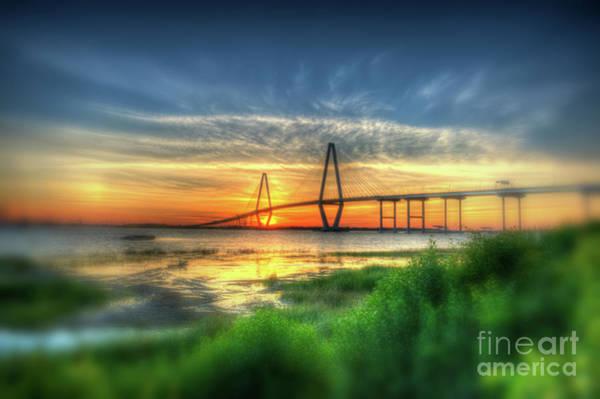 Photograph - Vignette Blur Of The Ravenel Bridge by Dale Powell