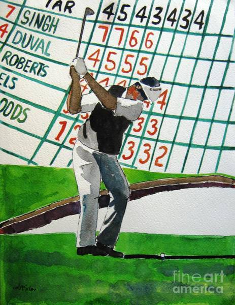 Augusta Masters Painting - Vijay Singh At Augusta by Lesley Giles
