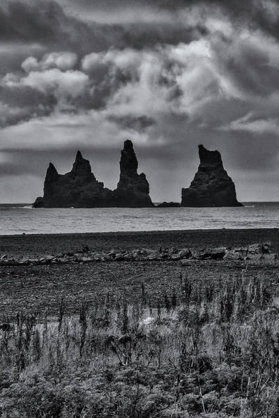 Photograph - Vik Stacks In Black And White by Tom Singleton