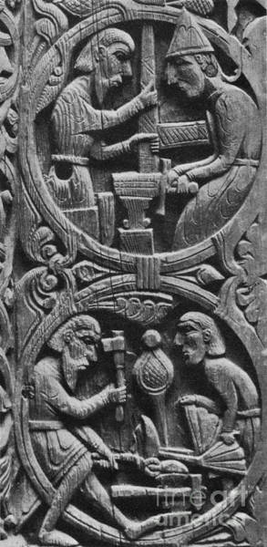 Wall Art - Photograph - Viking Blacksmiths Forge The Sword by Photo Researchers