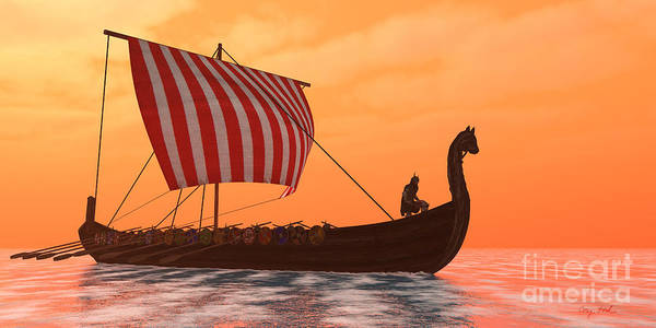 Wall Art - Painting - Viking Longship Ventures by Corey Ford