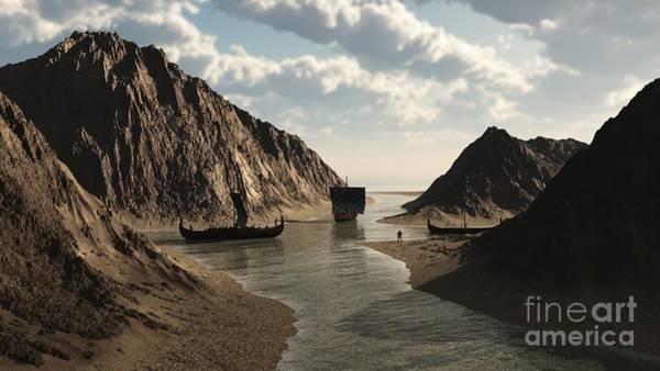 Icelandic Digital Art - Viking Longships In An Icelandic Inlet by Fairy Fantasies