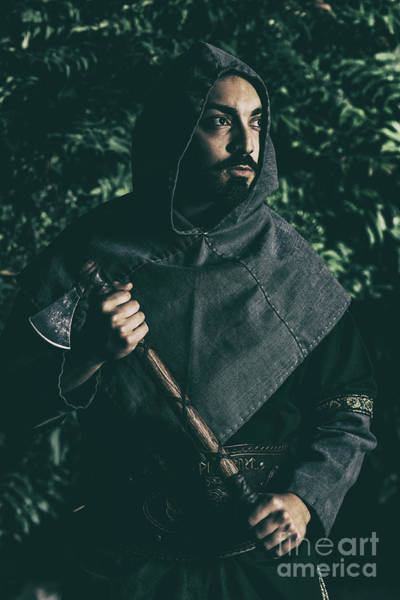 Cosplay Photograph - Viking Man With Axe by Amanda Elwell