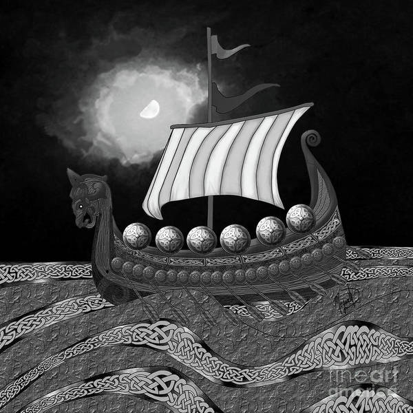 Digital Art - Viking Ship_bw by Megan Dirsa-DuBois
