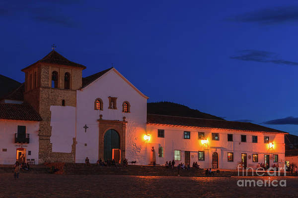 Boyaca Photograph - Villa De Leyva, Colombia - Church Main Square After Sunset. by Devasahayam Chandra Dhas