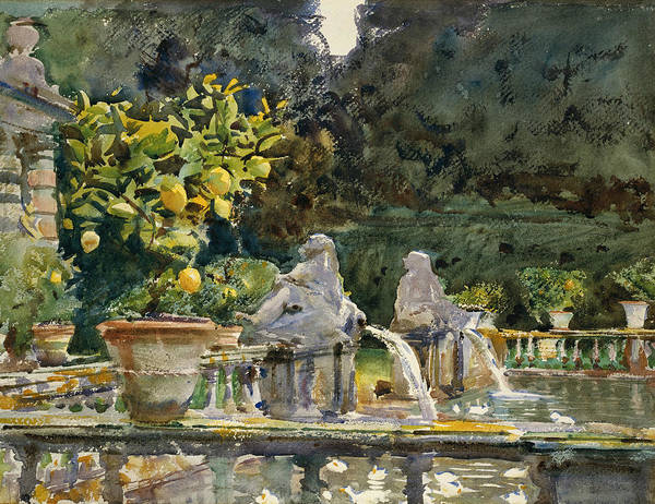 Italian Painters Wall Art - Painting - Villa Di Marlia Lucca A Fountain by John Singer Sargent