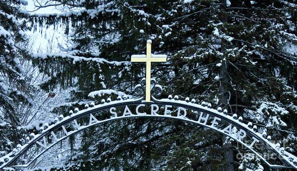 Wall Art - Photograph - Villa Sacred Heart Winter Retreat Golden Cross by John Stephens