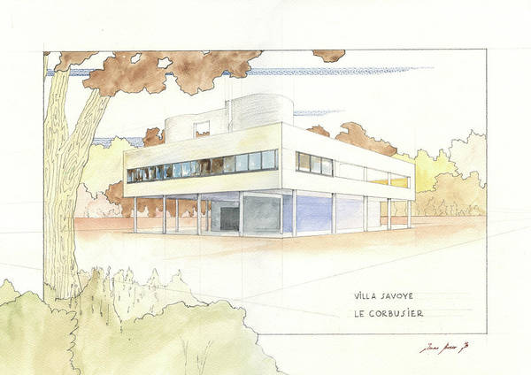 Wall Art - Painting - Villa Savoye Le Corbusier by Juan Bosco