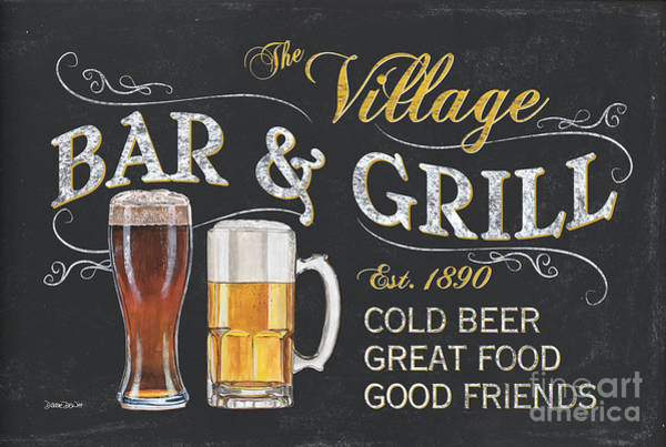 Label Painting - Village Bar And Grill by Debbie DeWitt