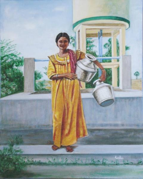 Usha Painting - Village Belle by Usha Shantharam