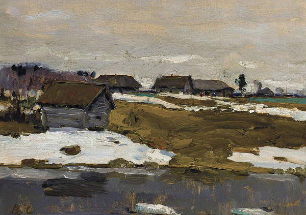 Painting - Village By The Water In Winter by Valentin Serov