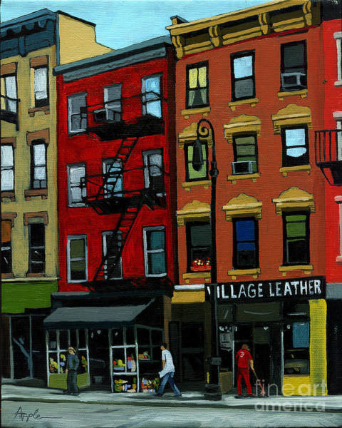 Wall Art - Painting - Village Leather - New York Cityscape by Linda Apple