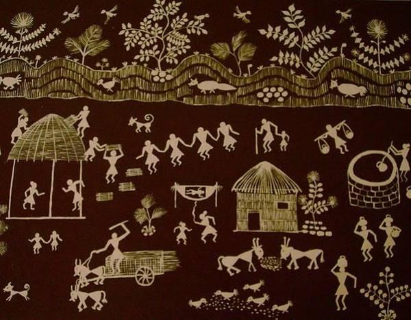 Kalamkari Painting - Village Life  by M Ande