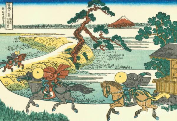 Wall Art - Painting - Village Of Sekiya At Sumida River by Hokusai