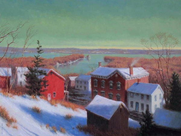 Wall Art - Painting - Village On The Hudson by Barry DeBaun