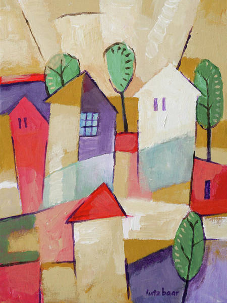 Painting - Village Painting by Lutz Baar