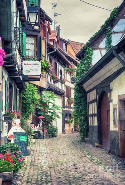 Photograph - village street  in Eguisheim in Strasbourg region , Alsace, augu by Ariadna De Raadt