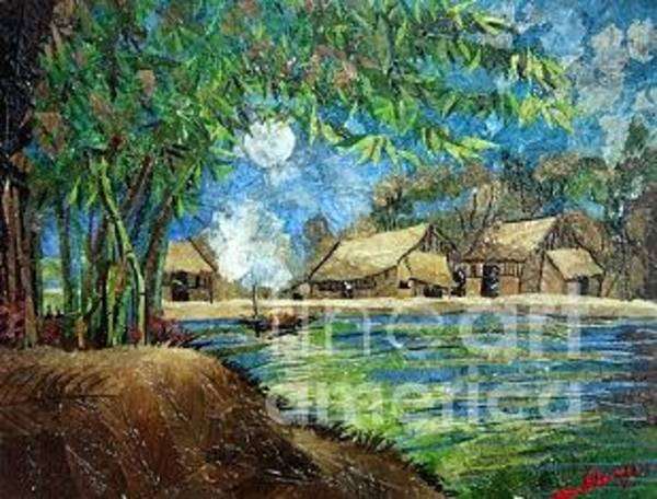 Wall Art - Painting - Village Under Moonlight by Vy Thuc