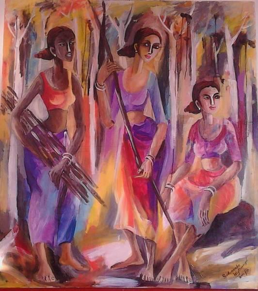 Wall Art - Painting - Villages by Sudumenike Wijesooriya
