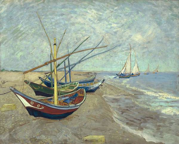 Painting - Vincent Van Gogh  Fishing Boats On The Beach At Les Saintes Maries De La Mer by Artistic Panda