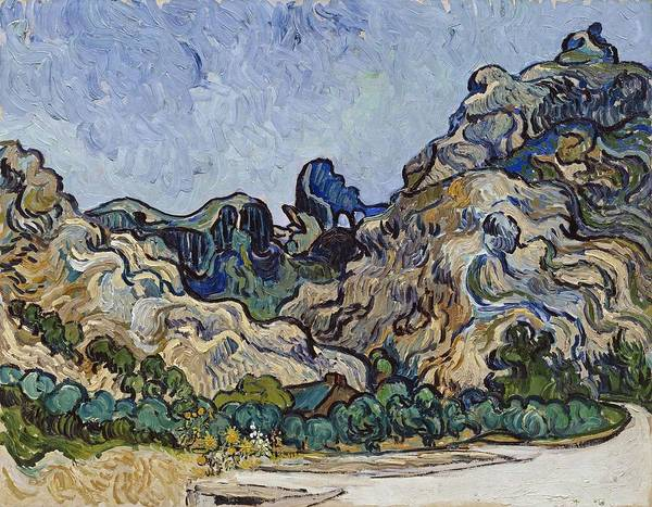 Painting - Vincent Van Gogh  Mountains At Saint Remy by Artistic Panda