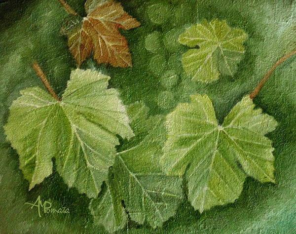 Ribera Del Duero Painting - Vine Leaves by Angeles M Pomata