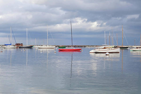 Photograph - Vineyard Haven Harbor Red Boat Martha's Vineyard Cape Cod by Toby McGuire
