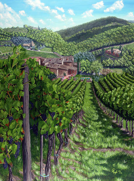 Angel Oak Painting - Vineyard In Tuscany by Angelo Pietrarca