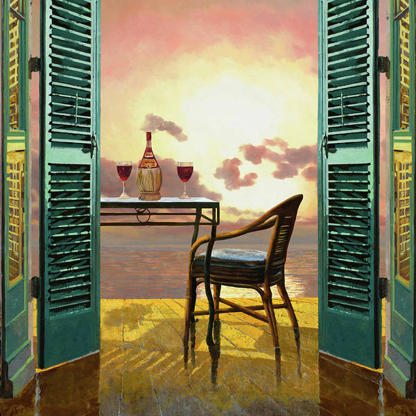Balcony Wall Art - Painting - Vino Rosso Al Tramonto by Guido Borelli