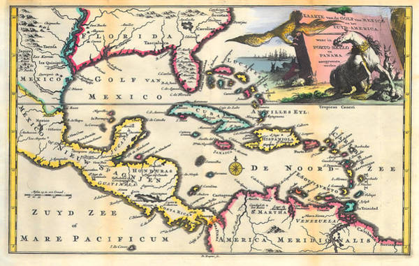 Wall Art - Photograph - Vintage 1747 Gulf Of Mexico Map by Stephen Stookey