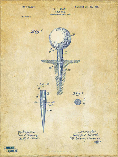 Course Wall Art - Digital Art - Vintage 1899 Golf Tee Patent Artwork by Nikki Marie Smith