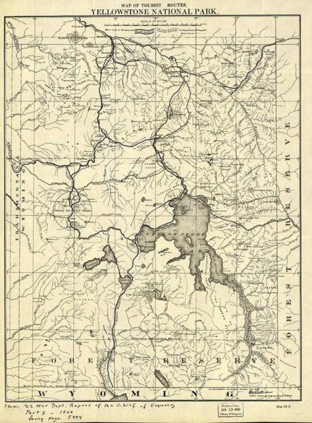 Montana Drawing - Vintage 1900 Yellowstone Map by Dan Sproul