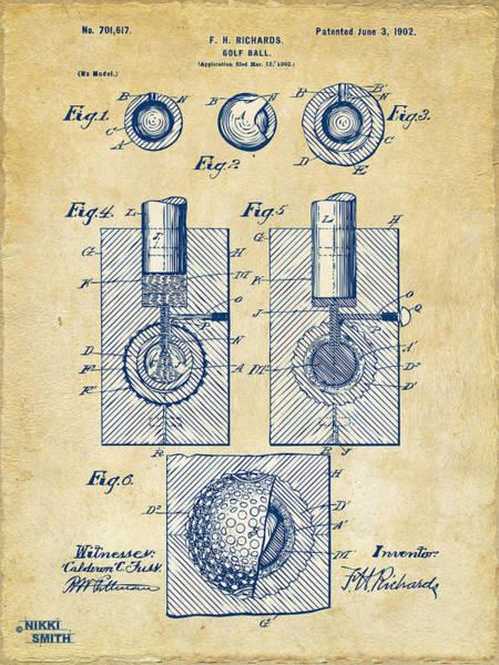 Wall Art - Digital Art - Vintage 1902 Golf Ball Patent Artwork by Nikki Marie Smith