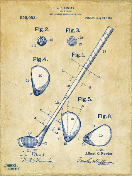 Course Wall Art - Digital Art - Vintage 1910 Golf Club Patent Artwork by Nikki Marie Smith