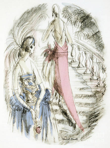 Wall Art - Painting - Vintage 1920s Fashion Plate  Evening Dresses by German School