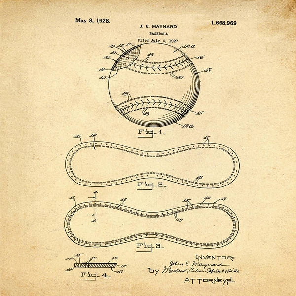 Philly Digital Art - Vintage 1928 Baseball Patent In Sepia by Bill Cannon
