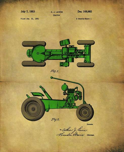 Drawing - Vintage 1953 Green Tractor Patent by Dan Sproul