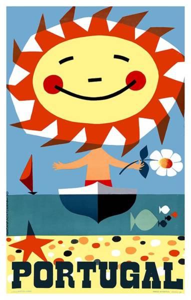 Sagre Wall Art - Digital Art - Vintage 1959 Portugal Seaside Travel Poster by Retro Graphics