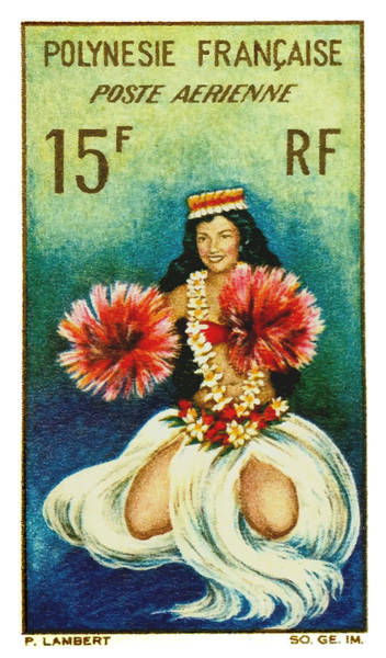 Polynesia Wall Art - Digital Art - Vintage 1964 Tahitian Dancer Postage Stamp by Retrographics