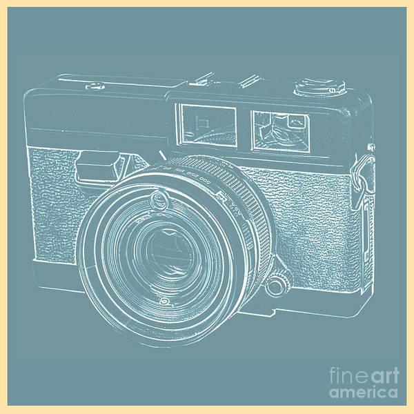 Photograph - Vintage 35mm Film Camera Blue Pop Art by Edward Fielding