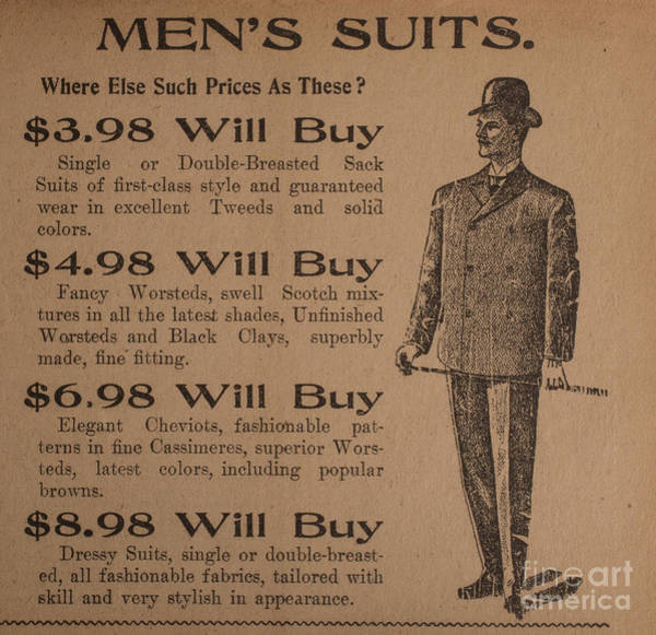 Paper Dress Photograph - Vintage Ad For Men's Suits by Edward Fielding