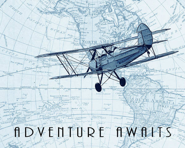 Vintage Airplane Drawing - Vintage Adventure - Blue by Delphimages Photo Creations