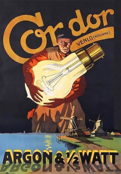 Bulb Drawing - Vintage Advertisement Poster by Miranda Sether