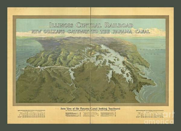 Wall Art - Painting - Vintage Aerial View Of The Panama Canal by Pd